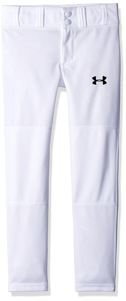 Under Armour Boys' Clean Up Baseball Pants, White/Black, Youth Large